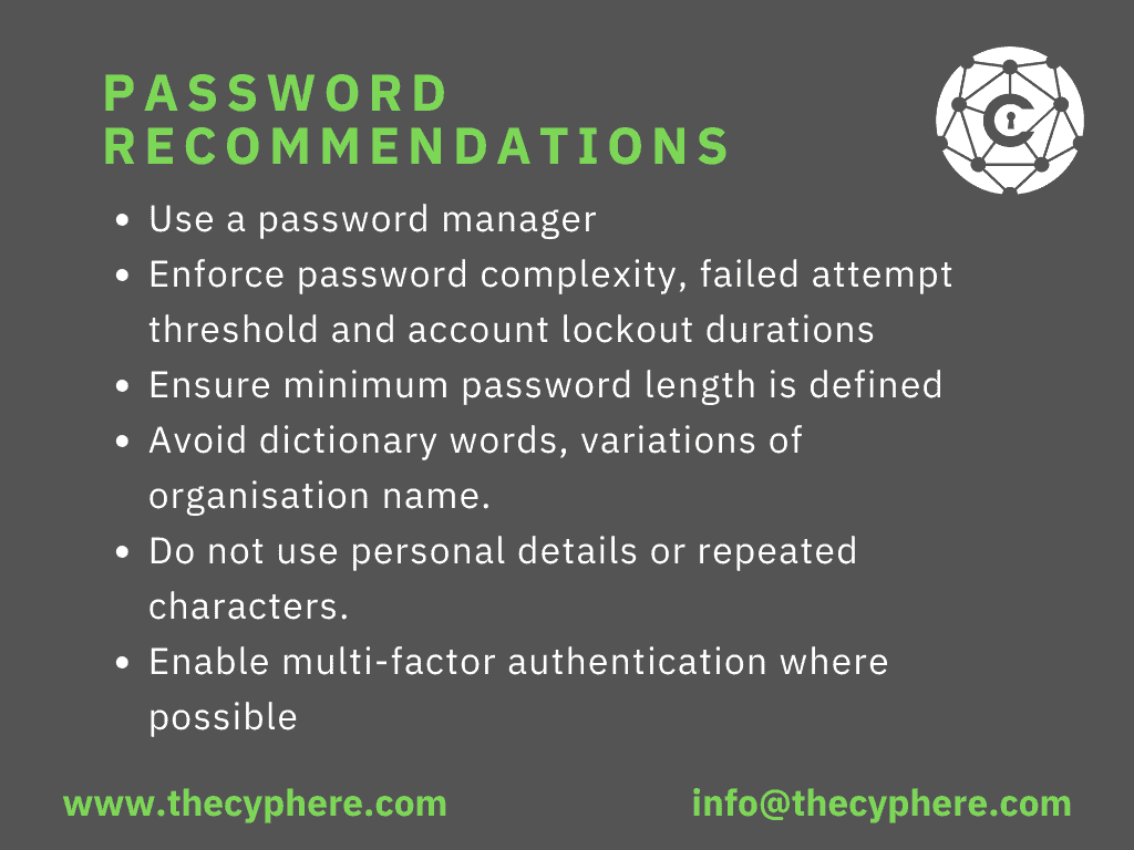 best recommendations to keep the password secure